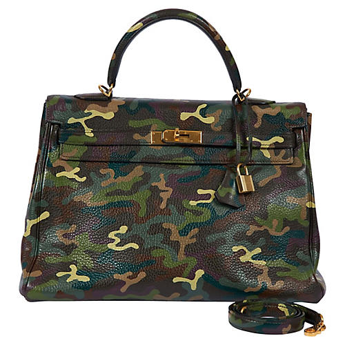 Hermès Olive Green Camouflage 35cm Kelly