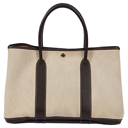 Hermès Brown/Toile Lg Garden Party Bag