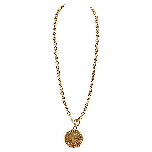 Chanel Gold Sun Tarot Pendant Necklace