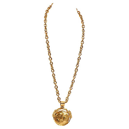 Chanel Goldtone Mirror Pendant