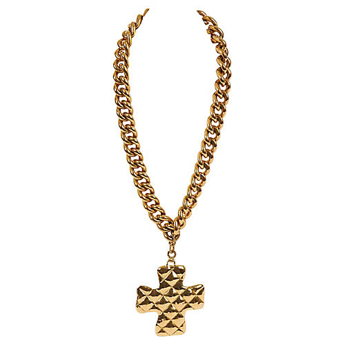 Chanel Oversize Quilted Cross Necklace