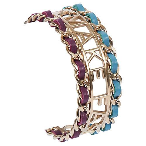 Chanel Purple & Turquoise Silver Cuff