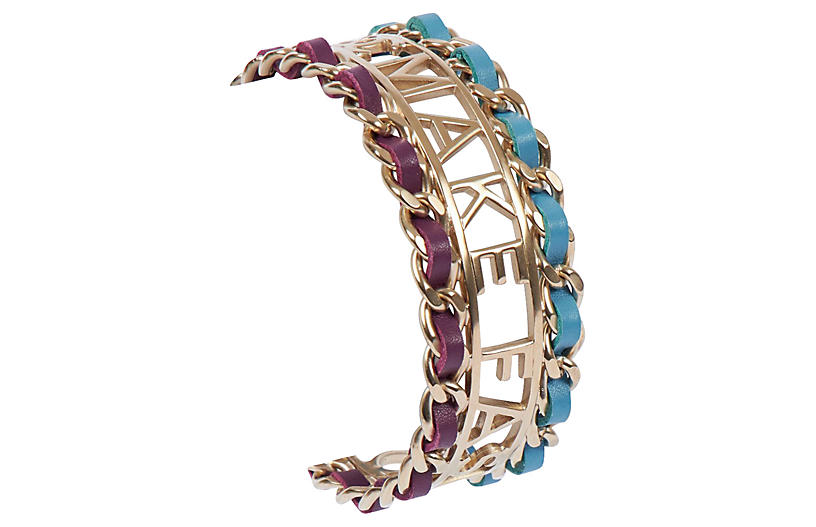 Chanel Purple & Turquoise Silver Cuff