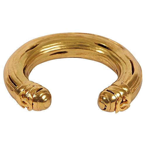 Chanel Ribbed Goldtone Cuff