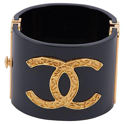 Chanel Black Lucite & Gold Cuff