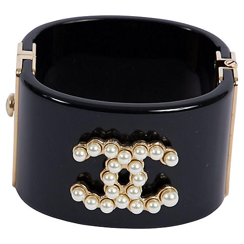 Chanel Black & Pearl CC Logo Cuff