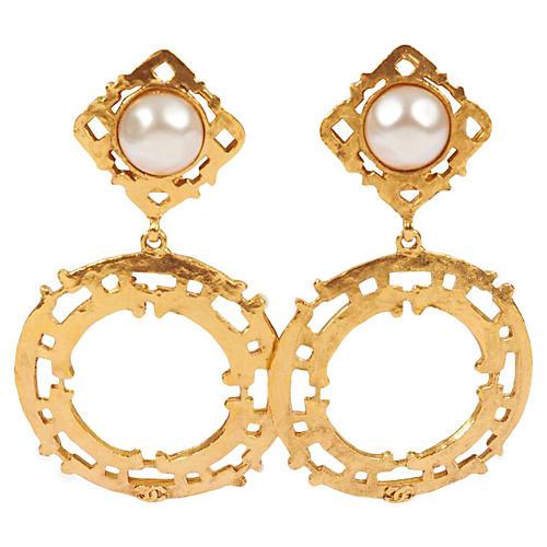 Chanel Goldtone Pearl Dangle Earrings