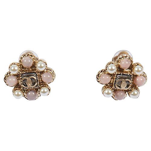 Chanel Pearl & Pink Flower Clip Earrings