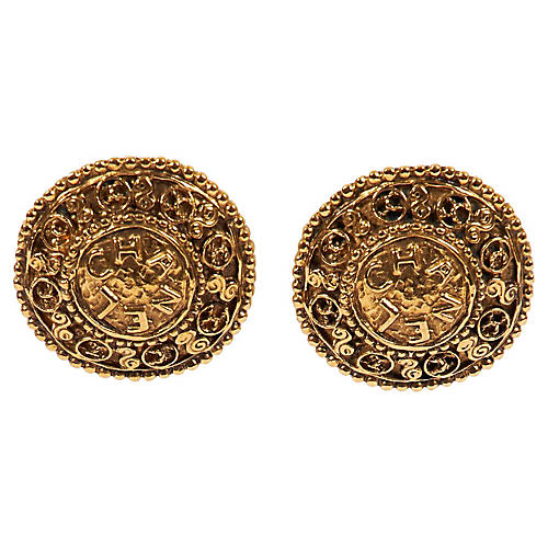 Chanel Textured Shield Clip Earrings