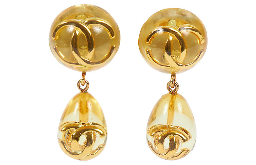Chanel Lucite Inlay Dangle Earrings