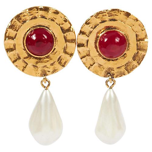 1970s Chanel Tudor Red Gripoix Earrings