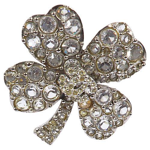 Chanel Rhinestone Clover Brooch