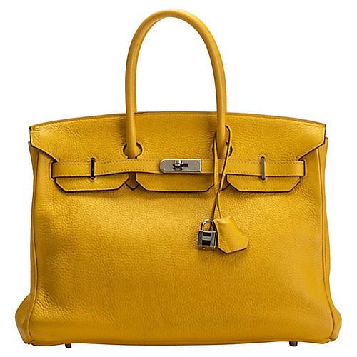 Hermès Jaune d'Or Clemence 35cm Birkin