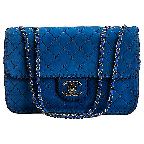 Chanel Electric Blue Suede Jumbo Flap