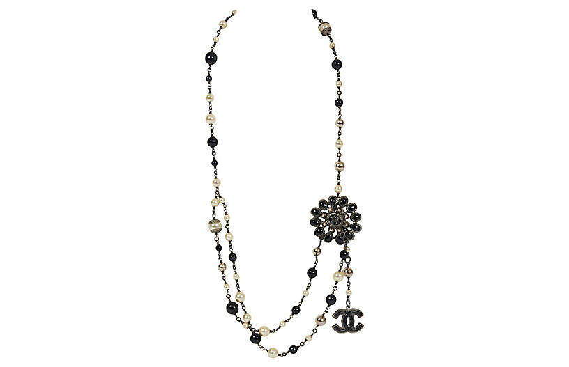 Chanel Black/Pearl Double Necklace/Belt