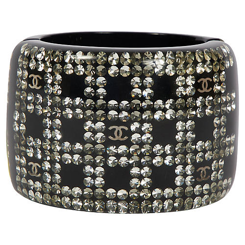 Chanel XL Wide Black Lucite Hinged Cuff