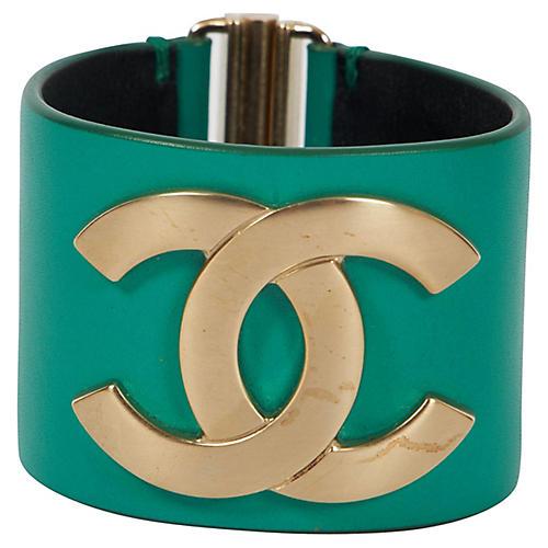 Chanel Emerald Green Leather Cuff