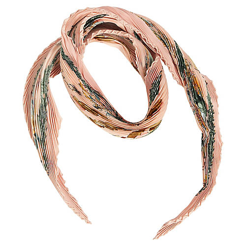 Hermès Pink Copeaux Pleated Silk Scarf