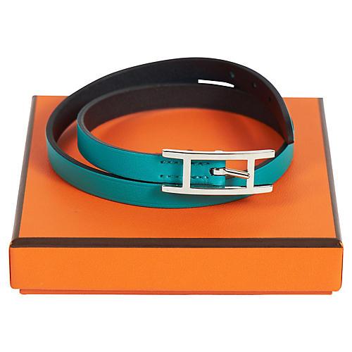 Hermès Blue Paon Wrap Bracelet