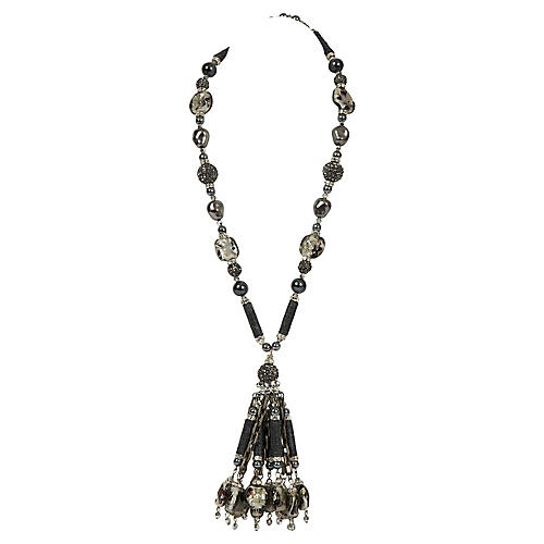 Vrba Grey Hematite Tassel Necklace