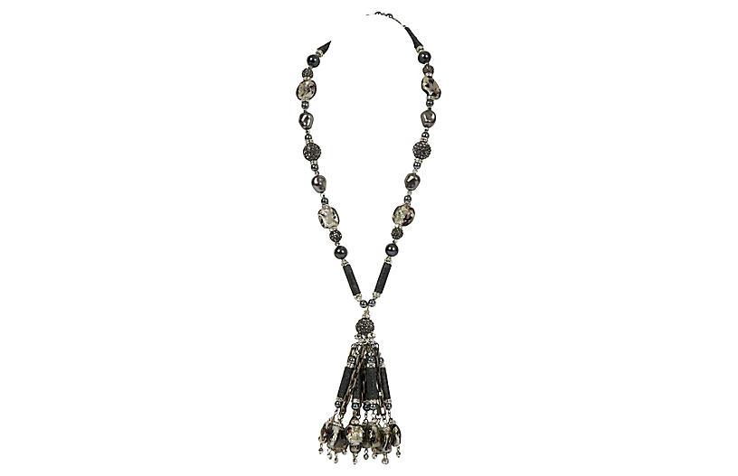 Vrba Grey Hematite Tassel Necklace