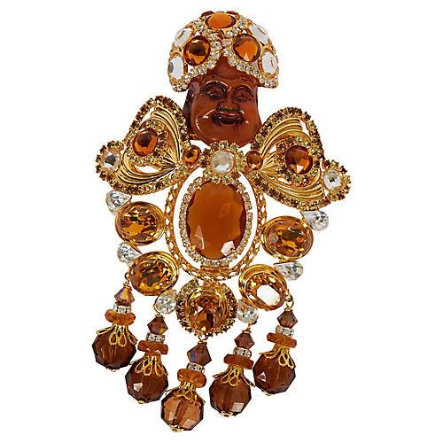 Vrba Amber/Gold Maharaja Brooch