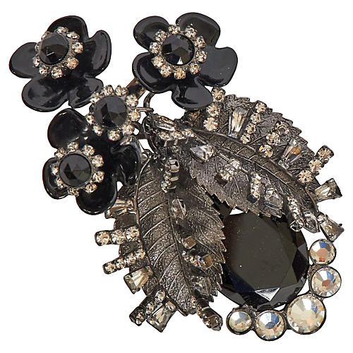 Vrba Black Flower Cluster Brooch