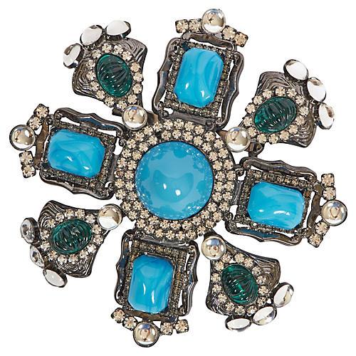 Vrba Large Turquoise Maltese Cross Pin