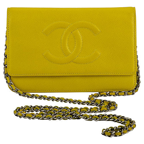 Chanel Lemon Caviar Crossbody Bag