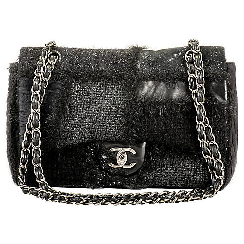Chanel Black Patchwork Jumbo Flap Bag