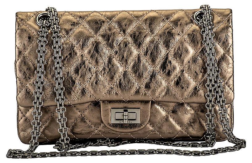 Chanel Argent Fonce' Reissue Double Flap