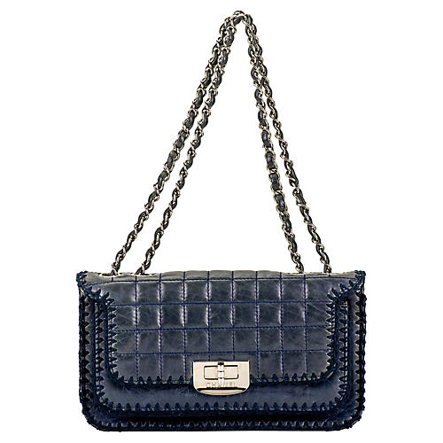 Chanel Navy Leather & Crochet Flap Bag