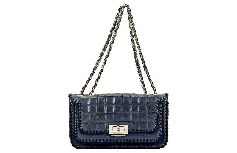 Chanel Navy Leather & Crochet Flap Bag