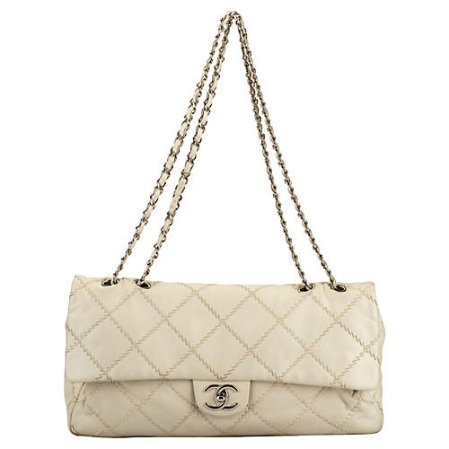 Chanel Cream Stitched Jumbo Flap Bag
