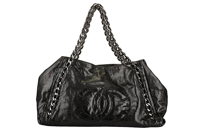 Chanel Black Glazed Chain Large Tote