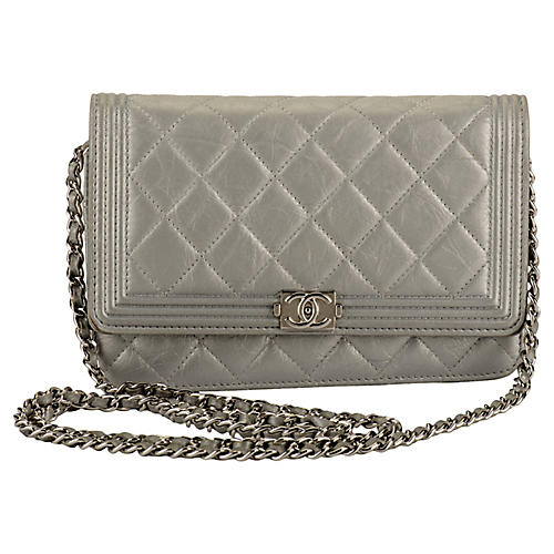 Chanel Silver Boy Bag Wallet on Chain