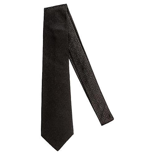 Chanel New Black Textured Logo Silk Tie