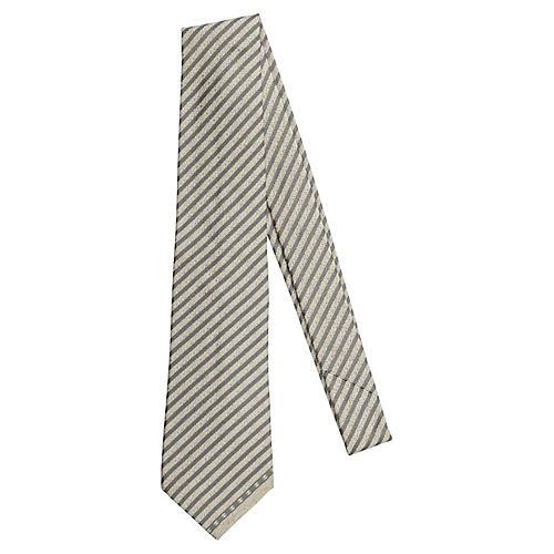 Chanel Grey & Sand Silk Tie New