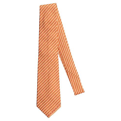 Chanel New Light Orange Silk Tie