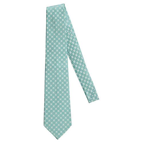Chanel New Silk Aqua Logo Tie