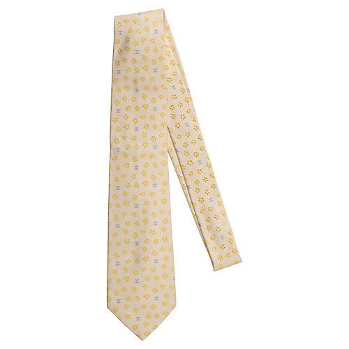 Chanel New Silk Cream Flower Tie
