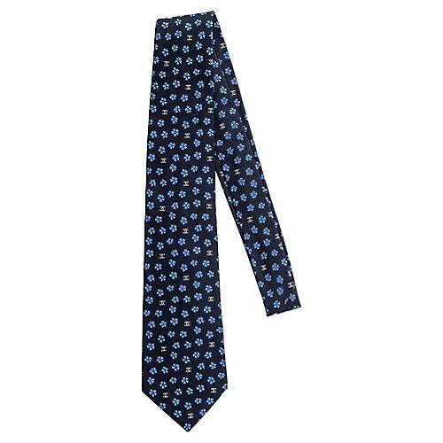 Chanel New Silk Navy Flower Tie