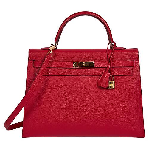 Hermès Rouge Casaque 35cm Kelly Sellier