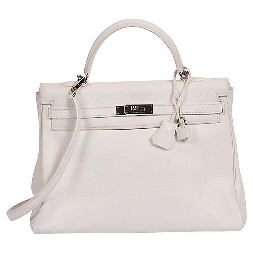 Hermès White 35cm Kelly Retourne