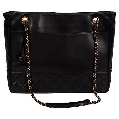 Chanel Vintage Black Shoulder Tote