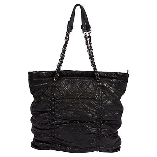Chanel Black Rouched Soft Leather Tote