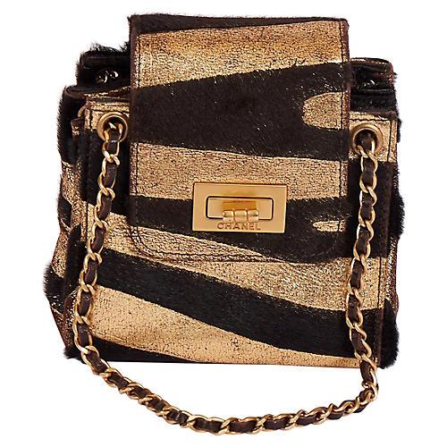 Chanel Mini Black/Gold Zebra Pony Bag