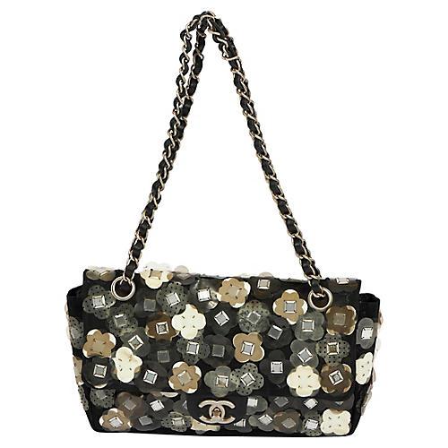 Chanel Black Mesh Flowers Applique' Flap