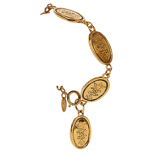 Chanel 80s Embossed Oval Coin Bracelet