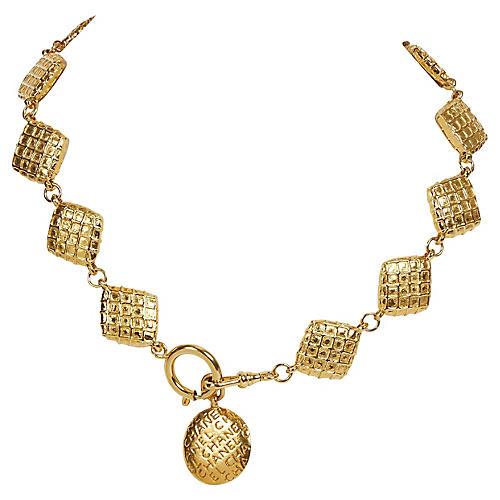 Chanel 70s Gold Waffle Diamond Chocker